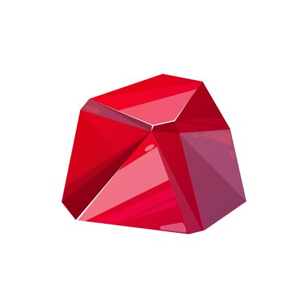 Crystal, ruby gemstone, vector jewel. Red jewelry crystal, geometric rhinestone glass