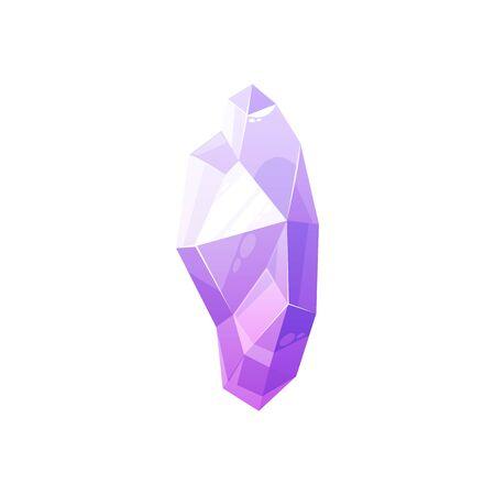 Crystal gem vector isolated precious stone. Purple pink crystal gemstone