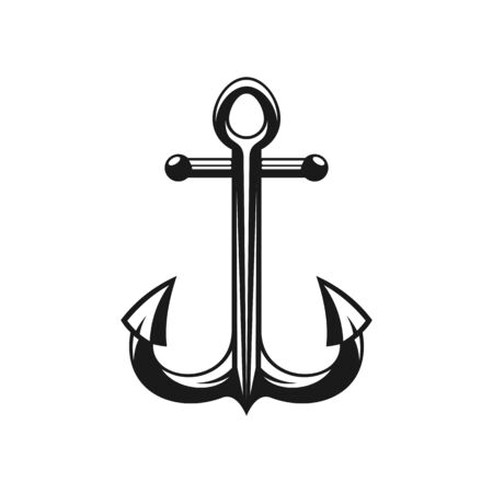 Nautical symbol isolated black ship anchor. Vector maritime navigation anker equipment