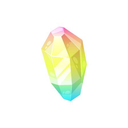 Crystal gem rainbow shine diamond. Vector isolated red, yellow, green crystal gemstone