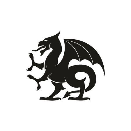 Drache oder Greif isolierte mittelalterliche Wappentier. Vektorfabelwesen mit Adlerbeinen und Flügeln