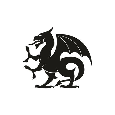 Dragon or gryphon isolated medieval heraldry beast. Vector mythical creature with eagle legs and wings Illustration