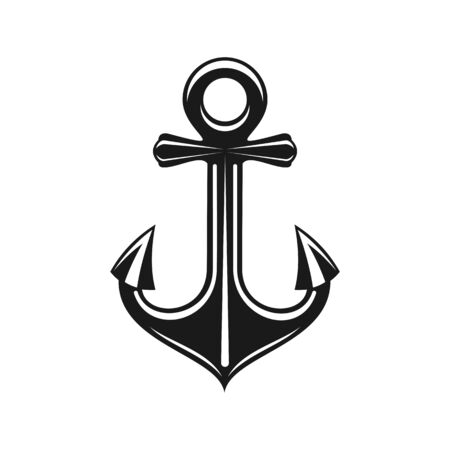 Anchor heavy mooring nautical object isolated. Vector monochrome marine navigation symbol  イラスト・ベクター素材