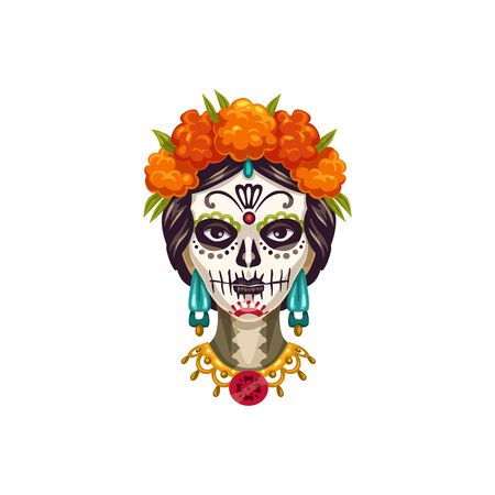 Mexican woman face painted as Catrina Calavera skull isolated. Vector girl with marigold flowers in hair