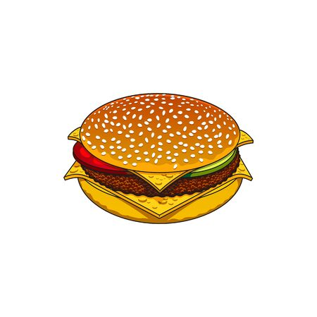 Fast food snack isolated hamburger. Vector takeaway burger, bun with tomato, lettuce and cucumbers, beef chop and sesame Ilustración de vector