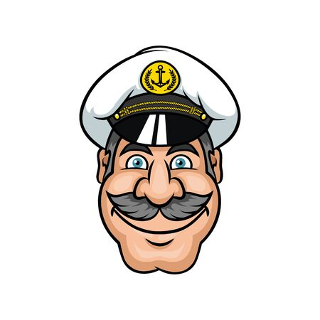 Cheerful captain portrait isolated nautical mascot. Vector man in cap with anchor and moustaches