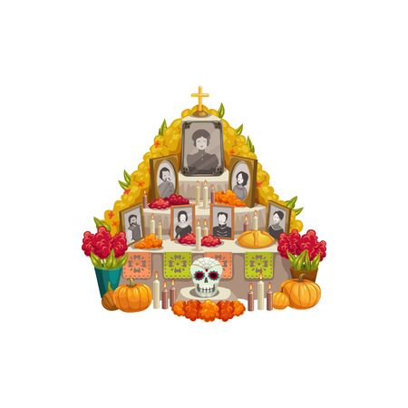 Dia de los muertos altar with offerings to Day of Dead isolated. Vector family photos, pumpkins and flowers