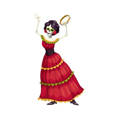 Mexican woman dancer with catrina calavera skull isolated. Vector woman with tambourine, Mexico dress Illustration