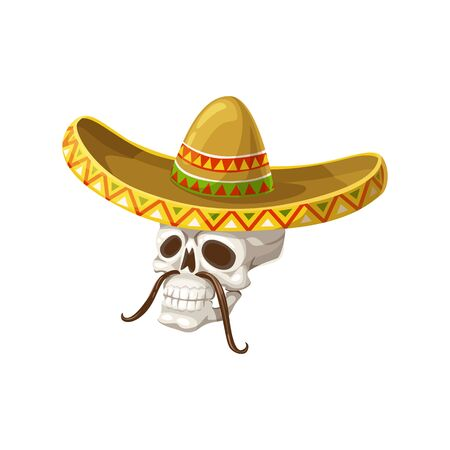 Skull in sombrero hat isolated skeleton head with mustaches. Vector Dia de los Muertos symbol