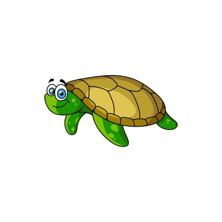 Cartoon swimming pacific turtle isolated marine animal. Vector reptile tortoise with dark green carapace Illustration