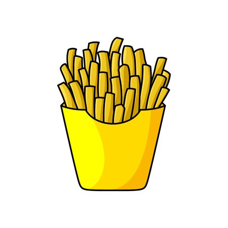 French fries in yellow package isolated fastfood snack. Vector fried potato strips in paper box, takeaway food Vector Illustratie