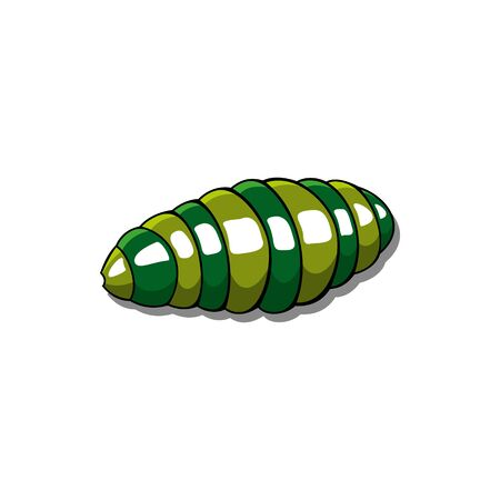 Striped caterpillar green tubular body isolated insect. Vector shell-less terrestrial gastropod mollusc, big worm