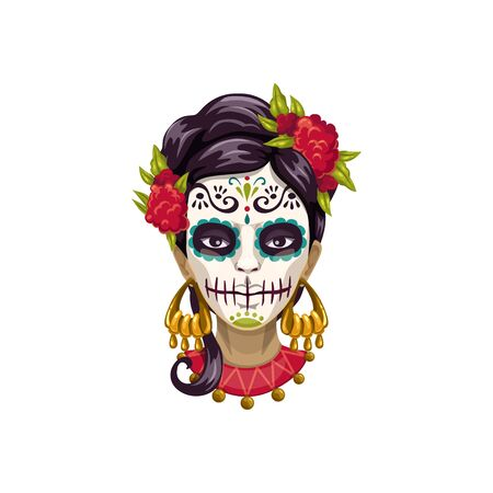 Woman in Catrina Calavera skull painting, mexican Day of dead symbol. Vector sugar face isolated