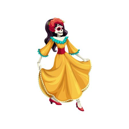 Woman with painted calavera skull isolated dancer in dress. Vector Cinco de mayo holiday Illustration