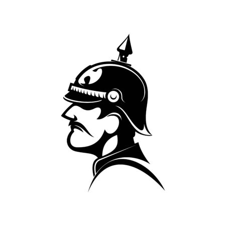Brave general of prussian army in spiked helmet isolated side view head. Vector retro soldier commander Illustration