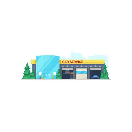Car service garage isolated building facade. Vector vehicles repair and maintenance station