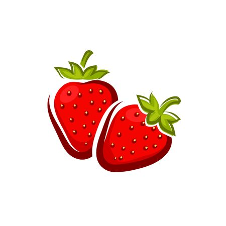 Strawberry isolated garden or wild forest berry. Vector sweet soft red fruit with seed-studded surface