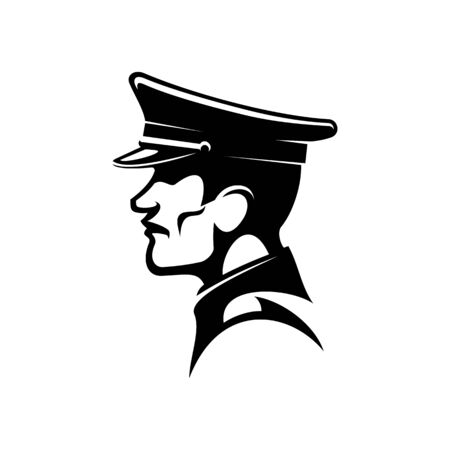 German soldier in peaked cap isolated man. Vector soldat in hat profile view Vetores