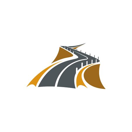 Mountain road over rocky slopes isolated icon. Vector concrete safety bollards at distance