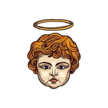 Christian angel child head with glory halo, religious icon. Vector Christianity Orthodox and Catholic religion symbol of angelic cherubim