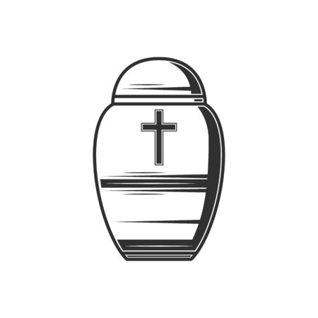 Box with human dust isolated vector funeral urn. Vector monochrome burial vase