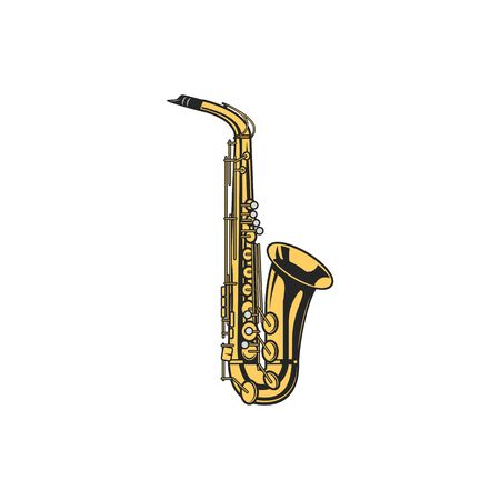 Saxophone isolated woodwind musical instrument. Vector sax or bass clarinet, orchestra trumpet