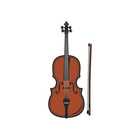 Violin with bow isolated musical instrument. Vector cello, orchestra violoncello, viola or double bass
