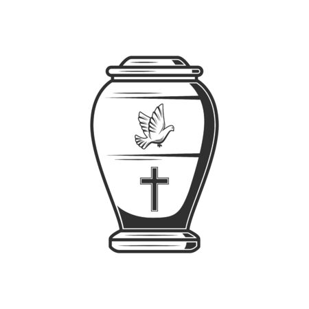 Ash urn with dove silhouette and black cross isolated funeral jar. Vector monochrome burial container