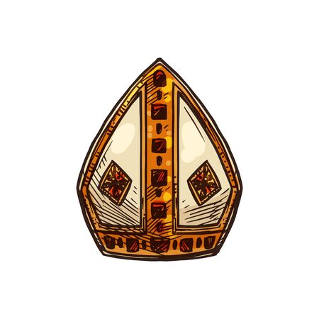 Pope headdress, papal mitre religious ceremonial priest hat with Crucifixion cross, Vector Christianity Orthodox and Catholic pope koukoulion or tiara miter