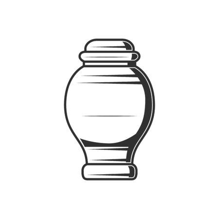 Monochrome cremation vase to bury human ash isolated vase. Vector burial jar