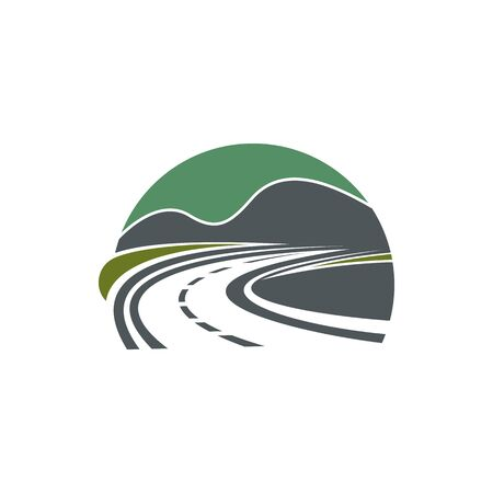 Road isolated roadway or highway symbol. Vector travel company logo, path in nature landscape ЛОГОТИПЫ