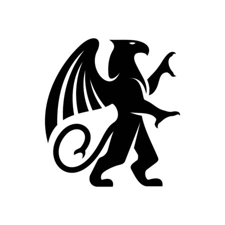 Heraldry griffin isolated mythical creature. Vector head, wings, talons front feet of eagle, body, tail of lion Vectores