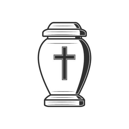 Cremation urn with cross isolated jar with dead ash. Vector vase with human dust monochrome icon