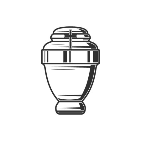 Columbarium vase isolated monochrome funeral urn. Vector cremation burial pot with ash Vettoriali