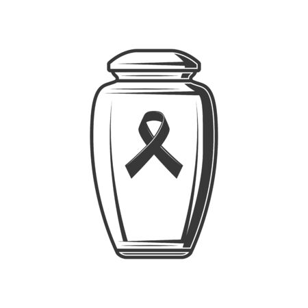 Urn with ash and black ribbon symbol of sorrow isolated. Vector monochrome funerary vase with human dust
