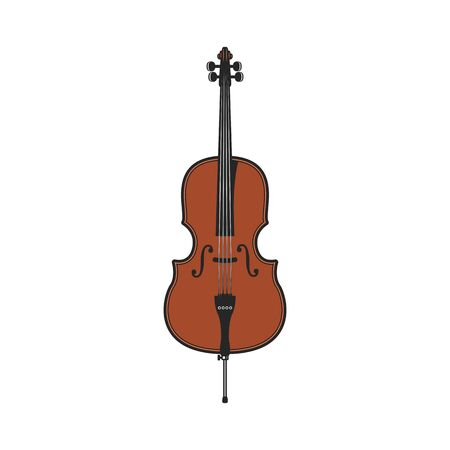 Double bass largest and lowest-pitched bowed string instrument in symphony orchestra isolated vector