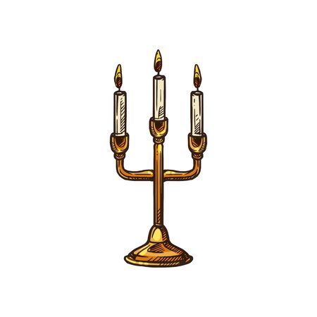Church candle stand, Christian religion icon. Vector three head candles lamp, Christianity Orthodox and Catholic religious mass symbol