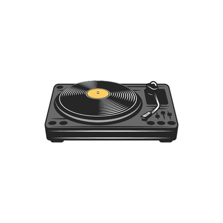 Vintage record player with tune buttons isolated. Vector vinyl disc musical recorder