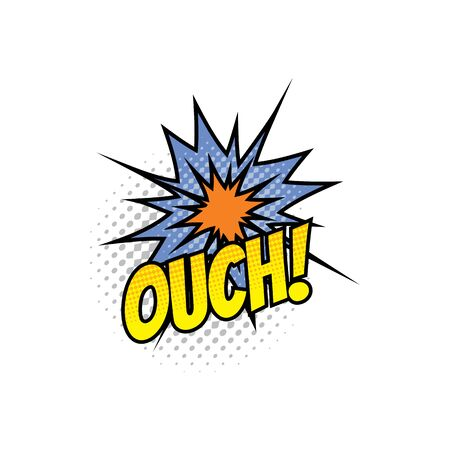 Comic sound blast, pop bubble chat cartoon icon. Vector Ouch sound blast, explosion boom cloud and superhero comic book art Illustration