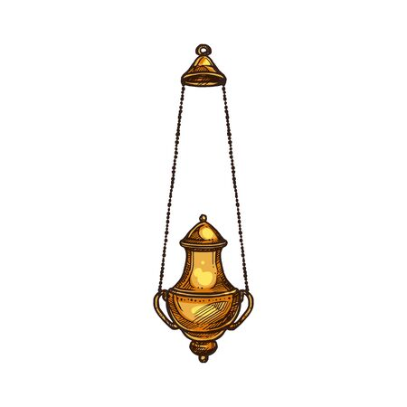 Church thurible, Christian religion icon. Vector priest censer of religious mass, Christianity Orthodox and Catholic priest symbol