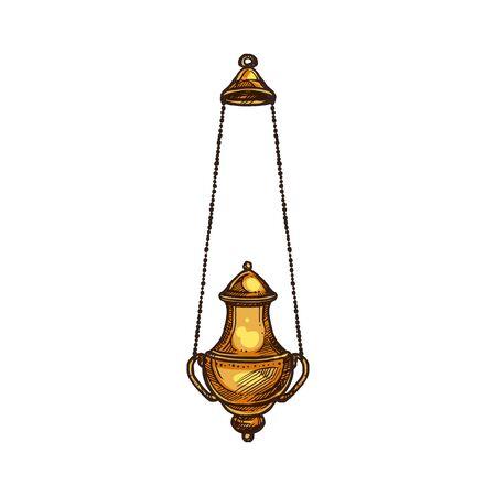 Encensoir d'église, icône de la religion chrétienne. Encensoir de prêtre de vecteur de messe religieuse, symbole de prêtre orthodoxe et catholique de christianisme