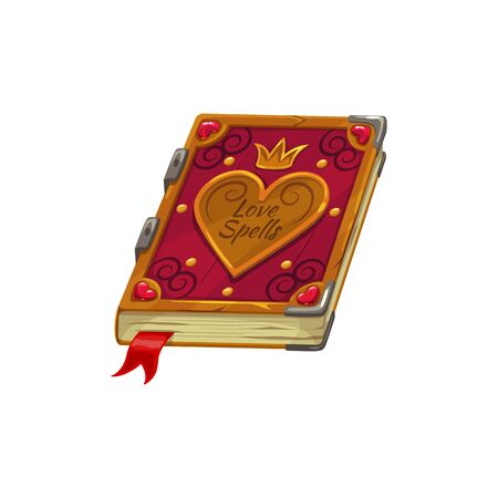 Love diary book, Valentine day and wedding RSVP party symbol. Vector isolated love spells book with heart, golden crown and bookmark