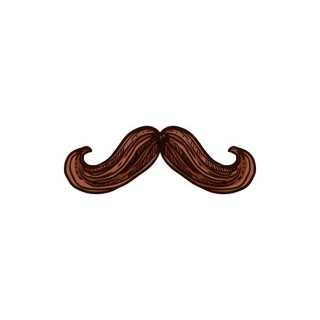 Curly mustaches isolated mexican males symbol. Vector brown hairy moustaches, man facial hair Vetores