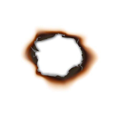 Paper sheet damaged by fire isolated burnt hole. Burnt hole in sheet of paper isolated damaged by fire surface. Vector torn page with brown ash Vettoriali