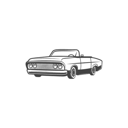 Retro cabriolet car icon, classic old time 1960 o 1970 transport. Vector vintage automobile limousine with open top Illustration