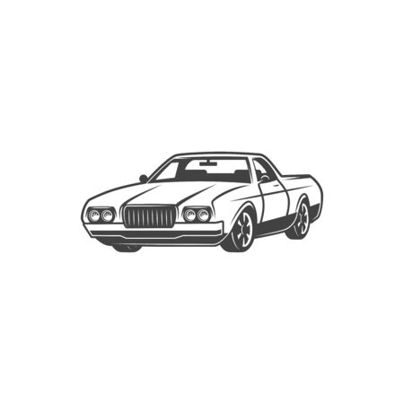 Retro car, coupe classic model vehicle icon. Vector isolated hatchback car motor, vintage transport and rare automobiles