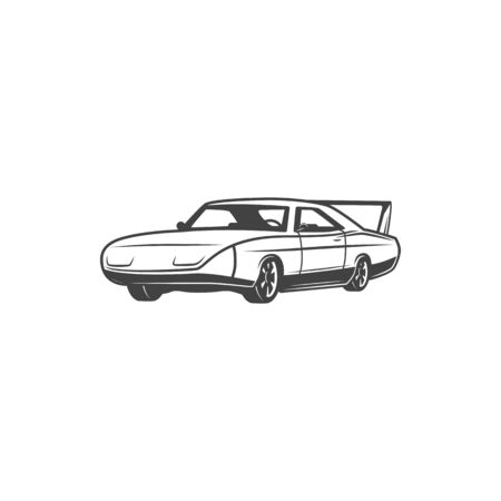 Retro sports car icon, coupe model vehicle. Vector isolated classic muscle car motor, vintage transport and old rare automobiles