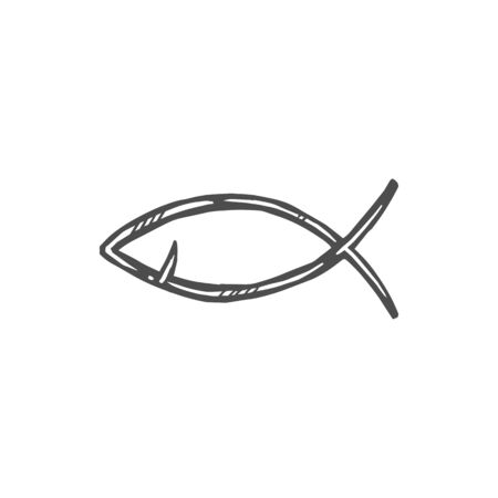 Christian religion symbol of Jesus fish sign. Vector Christianity Orthodox or Baptism religious symbol, ichthys or ichthus fish icon