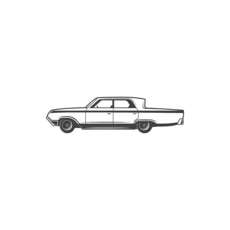Retro car icon, classic old time transport vehicles.
