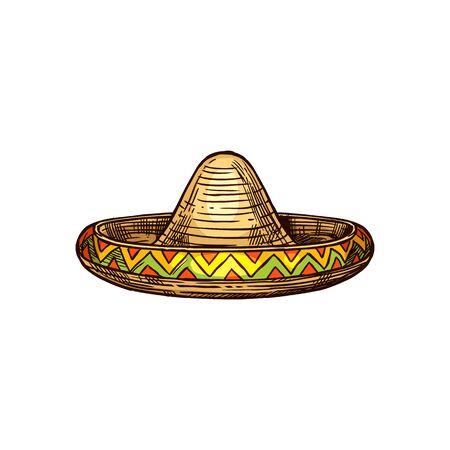 Sombrero cap isolated traditional latin headdress.